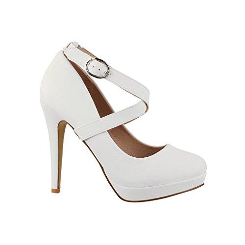 Bequeme High Heel-schuhe (Elara Damen Pumps | Bequeme Riemchen High Heels | Stiletto Schuhe | Abendschuh Trendy | Chunkyrayan E22350 White-37)