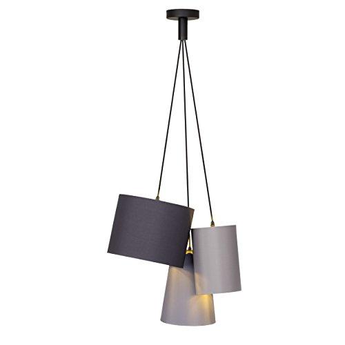 Pendelleuchte, 3-flammig, 3x E27 max. 40W, Textil / Metall, schwarz / gold