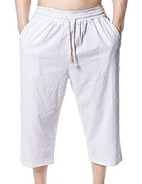 Hulday Pantalones De Verano para Ocio Pantalones Holgados De Hombres 3  Estilo Simple 4 Pantalones De Playa Pantalones De Color Sólido… 1314cc78d2a