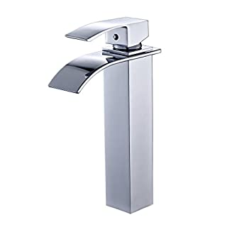 Auralum® Design Extended Single Lever Basin Mixer Tap with Waterfall for Bathroom