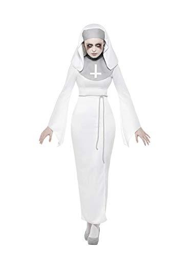 auen Frauen Geister Nonnen Kostüm im Horror Look, Kleid mit Gürtel und Haube, perfekt für Halloween Karneval und Fasching, L, Weiß ()