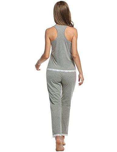 Avidlove Damen Schlafanzug Nachtwäsche Pyjama Oberteil und Hose Set Schlafanzug sport yoja Top und Hose Grau
