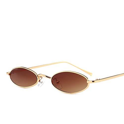 xinzhi Retro Oval Brille, Reitbrille Uv400 Universal Sonnenbrille Traveller Sonnenbrille Fashion Street Sonnenbrille - # 3, Goldrahmen mit Doppeltee