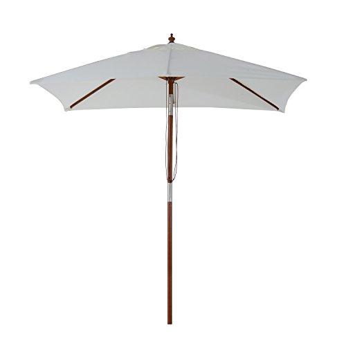 Outsunny Sombrilla Parasol 2x1.5m de Bambú Madera para Jardín Terraza Patio Playa Doble Techo Ángulo Inclinable Rectángulo Mástil de 38mm Crema