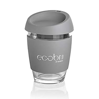 Ecobru - Eco-Friendly Glass Reusable Coffee Cup | Reusable Coffee Cup with lid | Travel Cup (3 Colours Available)