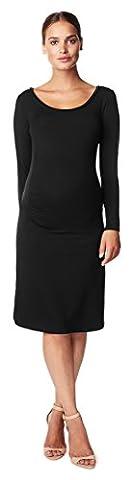 Noppies Damen Umstandskleid Dress ls Isabella 2, Knielang, Einfarbig, Gr. 36 (Herstellergröße: S), Schwarz (Black C270)