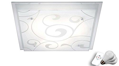 21 Watt LED Decken 3-flammig Lampe Glas satiniert Dekor RGB Farbwechsler dimmbar