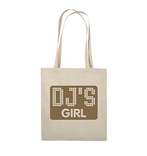 Comedy Bags - DJ'S GIRL - NEGATIV PUNKTE - Jutebeutel - lange Henkel - 38x42cm - Farbe: Schwarz / Silber Natural / Hellbraun