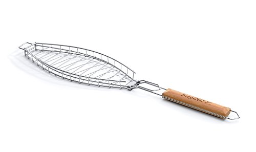BergHOFF 4490303 Non-Stick Fish BBQ Grilling Basket with Oak Wood Handle - Silver