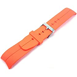 Orange Curved End Polyurethane Rubber Divers Watch Strap Band 22mm