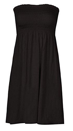 Mix lot neue Frauen-Scher boobtube Bandeau-trägerlose / ärmelloses Top Klar Damen sexy Sommer-Strand-Kleid oben klein mittel plus size Freizeitkleidung Größe 36-50, Black, M/L / 40/42 Bandeau-kleid