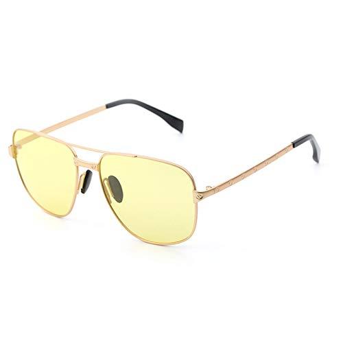 LKVNHP Neue Hochwertige Photochrome Polarisierte Sonnenbrille Männer Frauen Übergang Hd Objektiv Tag Nacht Fahren Männlichen ShadesModeUvGelb