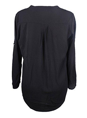 KeepSa Damen V Ausschnitt Chiffon, Sommer 3/4 Ärmel Bündchen Bluse Tops T-Shirt Shirt Schwarz