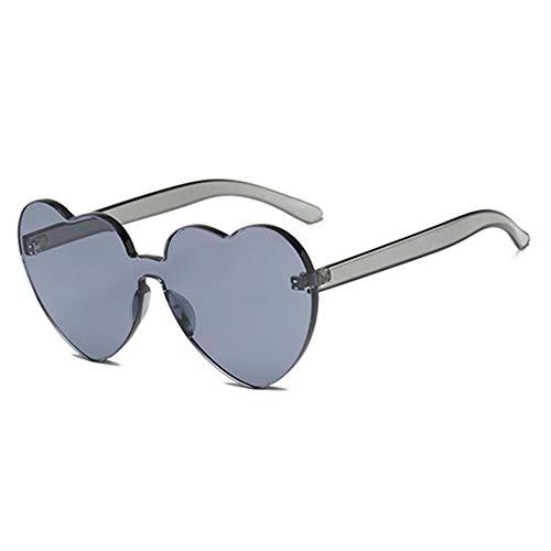Wang-RX Sommer randlose Herz-Sonnenbrille-Frauen-transparente Farbton-Sonnenbrille kühle Farbe UV400