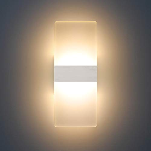 LED Wandleuchte Innen 12W Modern Lampe Wandlampen Wand Sconce Warmweiß Beleuchtung Indoor Acryl Wandleuchten für Wohnzimmer Schlafzimmer Treppenhaus Flur