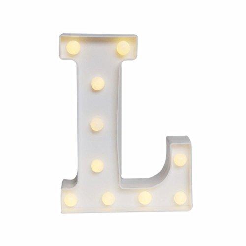 Ebilun LED Alphabet Licht 3D Plaque Marquee Buchstaben Lichter Zahl Nightlight Dekor Lampe für Hochzeit Home Party Bar Dekoration L (3d Alphabet Buchstaben)