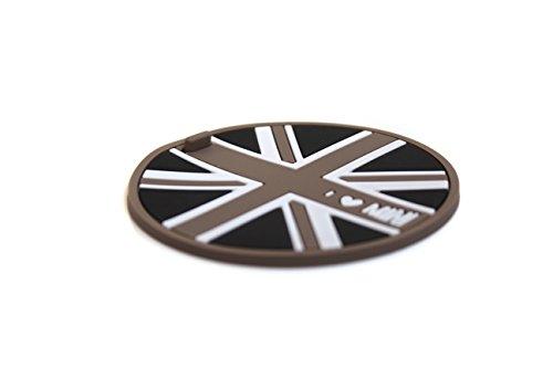 LVBAO 2/Set Soft Silikon Cup Halterung Auto Untersetzer für Mini Cooper JCW One S F54F55/F57F60Clubman Countryman Hardtop Schrägheck Coupe Roadster, Union Jack Black, 65 mm (Union Black)