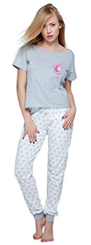 Sensis stillvoller Baumwoll-Pyjama Schlafanzug Hausanzug aus feinem T-Schirt und bequemer Hose, Made in EU (XL (42), Hellgrau/weiß mit Einhorn)