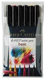 Faber-Castell Pitt Artista Pen, Funda de 6–Basic