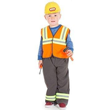 Construction Worker pour enfant ou Bricoleur Costume et chapeau pour Age 3–7ans