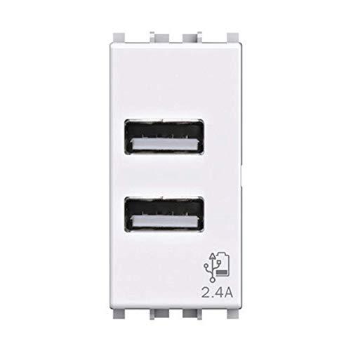 Presa USB da muro 2 4 Ampere, Compatibile con Vimar Plana, Bianca