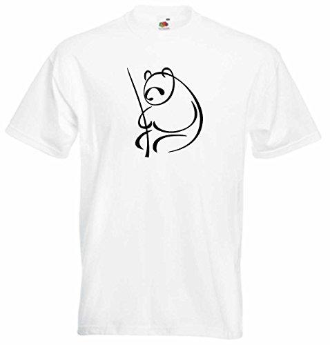 T-Shirt D284 T-Shirt Herren schwarz mit farbigem Brustaufdruck - großer Panda in Bambuswald Mehrfarbig