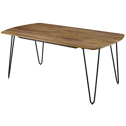 FineBuy Esszimmertisch Keyla Sheesham Massivholz | Esstisch mit Metallbeinen | Massiver Echtholz Tisch Quadratisch | Designer Holztisch Massiv | Moderner Küchentisch Braun -
