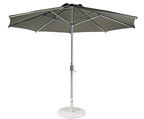 Parasol Jardin | Taupe Marron Gris | Ø 300 cm / 3m | Rond | SORARA | APPLE | Diamètre du Mât Ø 48 mm | Polyester 180 g/m² (UV 50+)| Commande à Manivelle (pied
