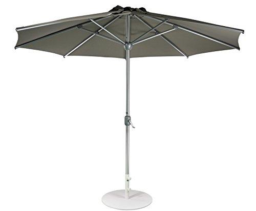 SORARA Sonnenschirm Parasol | Taupe Braun Grau | Ø 300 cm / 3m | Rund Apple | Mastdurchmesser Ø 48 mm | Polyester 180 g/m² (UV 50+)| Kurbel Mechansimus (excl. Base)