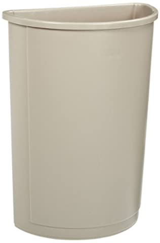 Untouchable Waste Container, Half-Round, Plastic, 21gal, Beige, Sold as 1 Each