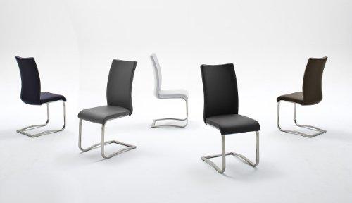 2-er-Set Stuhl, Esszimmerstuhl, Metallschwinger, Freischwinger, Schwingstuhl, Schwinger, braun, schwarz, grau, weiss, blau (braun)