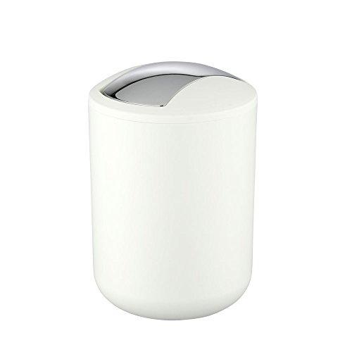 Wenko 21206100 Schwingdeckeleimer Brasil weiß S, Kosmetikeimer, Mülleimer, bruchsicher, Fassungsvermögen: 2 l, Thermoplastischer Kunststoff (TPE), 14 x 21 x 14 cm, weiß
