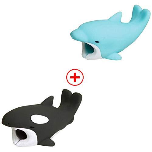 Holeider Telefon-Ladekabel schützt Zubehör Tier Cute Handyhülle Kabel Biss für iPhone Kabel Schnur Handy-Ladeleitung Schützt vor Biege-Pause (F+F)