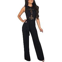 OverDose Soldes Combinaison en Dentelle Femme Chic pour Soirée Été, Sexy Pantalons Large Droite sans Manches Jumpsuit Clubwear de Cocktail