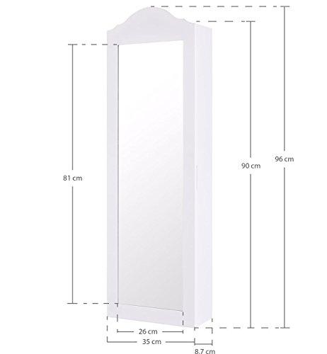 Ezigoo Schmuckschrank Spiegel – Türmontage/Wandmontage 96 x 35 x 8,7 cm – Weißer Schmuck Spiegel mit viel Stauraum - 7