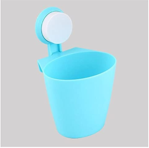 FYN® Mülleimer Wand hängen Lagerfässer Regal Sucker Hängen Mülleimer Küche Badezimmer Kunststoff Trümmer Eimer (3 geladen) blue