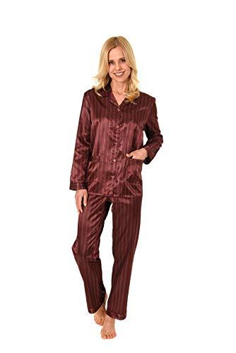 NORMANN WÄSCHEFABRIK Damen Satin Pyjama Schlafanzug in Edler Optik zum durchknöpfen - 191 201 94 002, Farbe:Bordeaux, Größe2:44/46 - Streifen-satin Baumwolle Pyjama