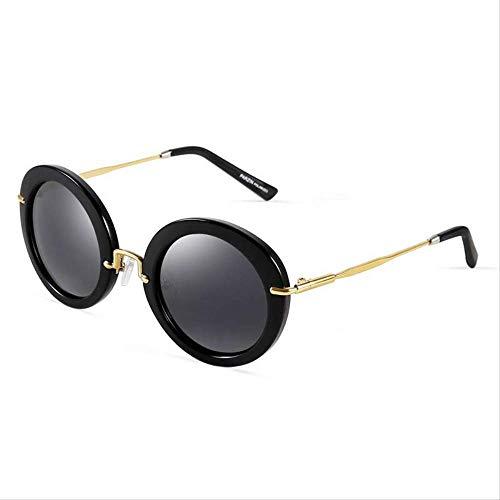 ZCFDDP Sonnenbrille Polarisierte Sonnenbrille Männer & Frauen Liebhaber Schild Anti Uv400 Vintage Classics Mode Runde Linse MetallrahmenHelle Schwarz