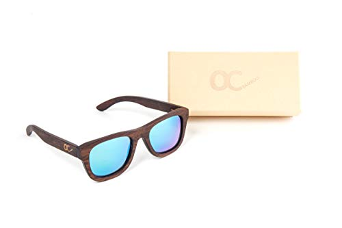OC Bamboo BAMBUS-SONNENBRILLE UNISEX mit Brillen-Etui UV400 polarisierte Wayfarer - Blau...