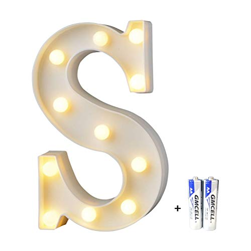 LED Buchstabe Lichter Alphabet, LED Brief Licht, Led dekoration für Geburtstag Party Hochzeit & Urlaub Haus Bar - Buchstabe S (S Buchstaben Halloween)