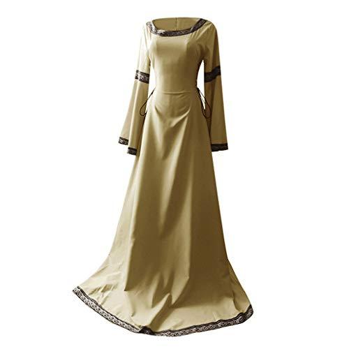 Damen Langarm Mittelalter Kleid Vintage Kostüm Gothic Retro Kleid Renaissance Cosplay Kostüm Prinzessin Kleid Lange Abendkleid Flare Sleeve Retro Mittelalterliches Kleid Von - Gothic Prinzessin Kostüm Perücke