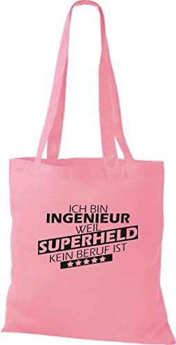 kein Shirtstown Beruf Stoffbeutel bin weil rosa ist Ich Superheld Ingenieur TYHYwrqf