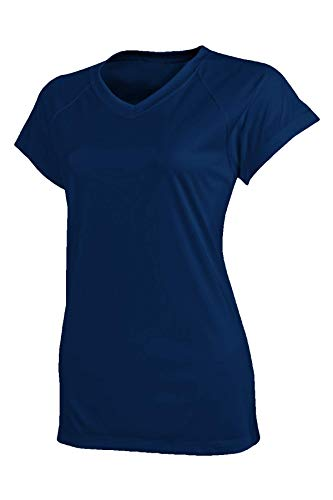 Champion Damen Kurzarm Double Dry Tee Shirt Navy, Größe M -