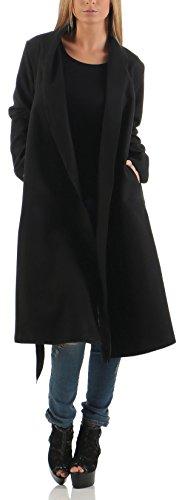 Malito Damen Mantel lang mit Wasserfall-Schnitt | Trenchcoat mit Gürtel | weicher Dufflecoat | Parka - Jacke 3050 (schwarz)