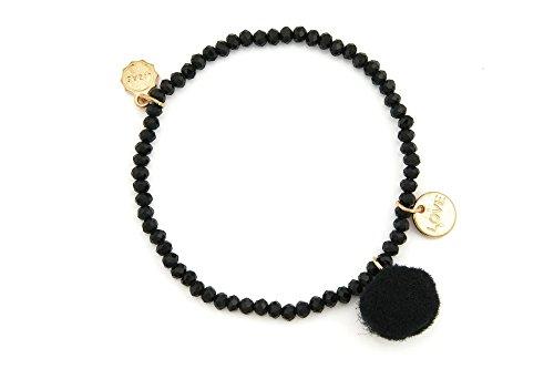 Lizas Armband Schmuckarmband mit bunter Bommel und Loveanhänger (schwarz)