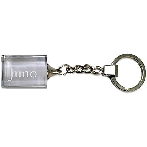 Llavero de cristal con nombre grabado: Juno (nombre de pila/apellido/apodo)
