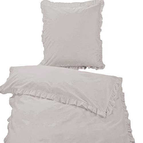 Gräfenstayn 2-TLG Bettwäsche Set Rüschen mit Reißverschluss aus 100% Baumwolle - Deckenbezug...