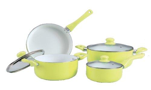 First Cuisine 7-teiliges Aluminium Topf Set, Induktionsgeeignet, Farbe Gelb