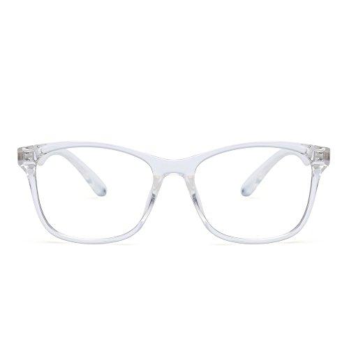 (JIM HALO Blaues Licht blockiert Computer Lesebrille,Augenbelastung reduzieren Anti-Glanz klar Linse Video Brillen Damen Herren(Klar/Klar))