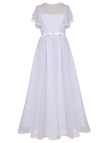 FAIRY COUPLE Mädchen Lace Chiffon erste Kommunion Kleid Blumenmädchen Kleid K0223 Weiß Größe 6 (Satin Perlen Rock)
